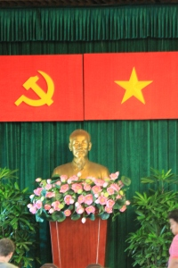 Sovietic & Vieth flags with Ho Chi Minh
